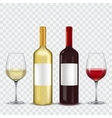 two bottles and glasses wine - red white vector image