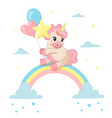 unicorn on rainbow fairy tale character in sky vector image vector image