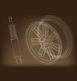 wheel and shock absorber on a brown vector image vector image