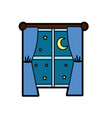 window with curtain the night and moon with star vector image