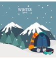 winter sport equipment and mountains landscape vector image vector image