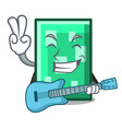 with guitar rectangle mascot cartoon style vector image