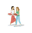 women walking with barbecued meat vector image vector image