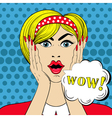 WOW face in Pop Art style Surprised scared Woman vector image