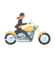 young woman riding motorcycle side view girl vector image vector image