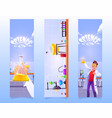 banners with man with flask in chemical laboratory vector image