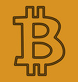 bitcoin bitkoins icon symbol on a yellow vector image vector image