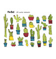 cacti handdrawn sketchcollection of different vector image vector image