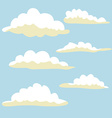 Cartoon clouds on blue background vector image