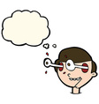 cartoon excited boys face with thought bubble vector image vector image