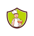 Chef Cook Bowl Pointing Crest Cartoon vector image vector image