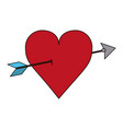 color image red heart pierced by arrow vector image