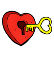 comic cartoon heart with key vector image vector image