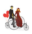 couple of cyclists on tandem bicycle with balloons vector image vector image