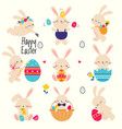 cute little bunnies set adorable pink easter vector image vector image