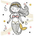 cute mermaid character in hand drawn style vector image vector image