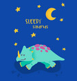 cute sleeping dinosaurus for poster print baby vector image vector image