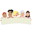 family holding a banner vector image vector image