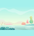 fantasy minimalistic summer field landscape with vector image