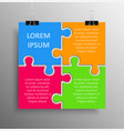 four pieces puzzle infographics puzzle banner vector image