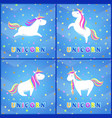 girlish unicorn with rainbow mane and sharp horn vector image vector image