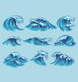 hand drawn ocean waves sketch sea tidal blue vector image
