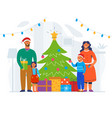 happy family decorating christmas tree vector image vector image