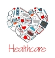 Healthcare medical heart poster vector image vector image
