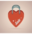 Heart paper bag with sale label vector image
