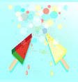 ice cream from watermelon and melon on stick vector image vector image