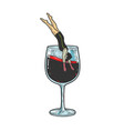 man dives into glass of wine sketch vector image vector image