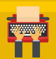 man hands on typewriter icon flat style vector image vector image