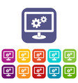 monitor settings icons set vector image vector image