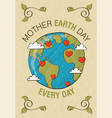 mother earth day card world map with love heart vector image vector image
