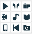 multimedia icons set with musical note textbook vector image vector image