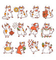 Ox set with chinese new year symbols cute