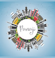 panaji india city skyline with color buildings vector image vector image