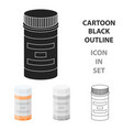 prescription bottle icon in cartoon style isolated vector image
