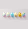 set color easter eggs with shadow traditional vector image vector image