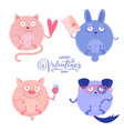 set cute round cat pig rabbit and dog vector image vector image