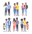 set of different black couples and families vector image vector image