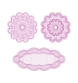 set of pink guilloche rosettes vector image vector image