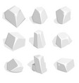 set of silver ore or boulders isometric 2d game vector image vector image