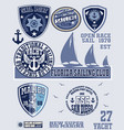 set vintage retro nautical badges and labels vector image vector image