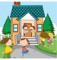 simple kids infront of house vector image