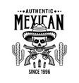 skull mexican bandit in sombrero and crossed vector image vector image