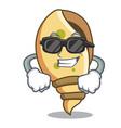 super cool sea shell character cartoon vector image