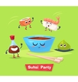 Sushi party Soy sauce and sushi roll Japanese vector image