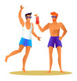 two athletic sportsmen in summer cloth having fun vector image