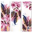 vertical brochures set with magnolia flowers vector image
